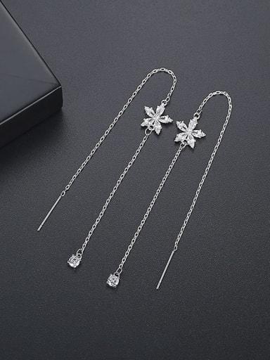 Platinum t06a11 Copper Cubic Zirconia Tassel Bohemia Threader Earring
