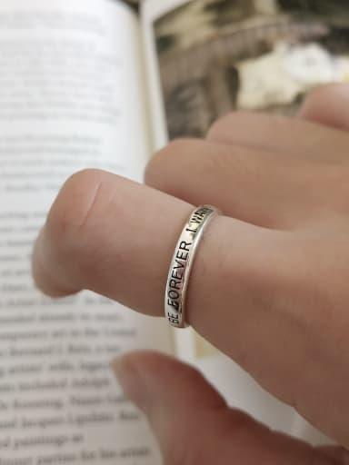 925 Sterling Silver Letter FOREVER Vintage Signet Ring