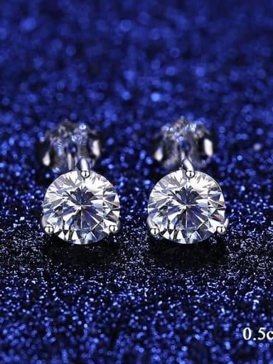 5mm 25F08 Moissanite 925 Sterling Silver Moissanite Round Dainty Stud Earring
