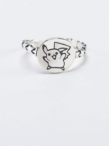 925 Sterling Silver Pig Vintage Band Ring
