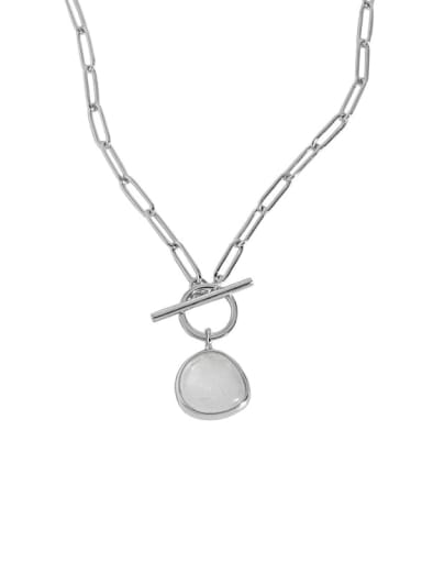Platinum 925 Sterling Silver Cats Eye Geometric Vintage Necklace