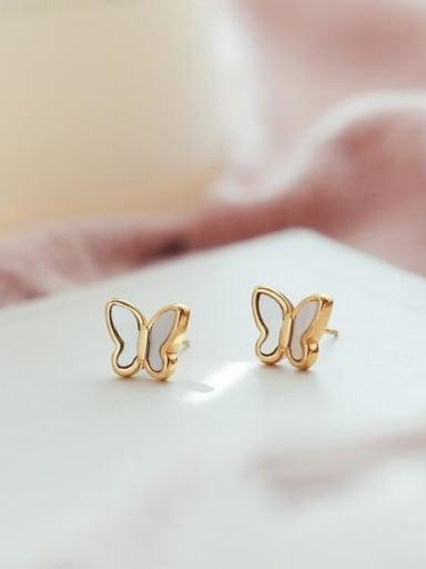 Titanium White Acrylic Butterfly Minimalist Stud Earring