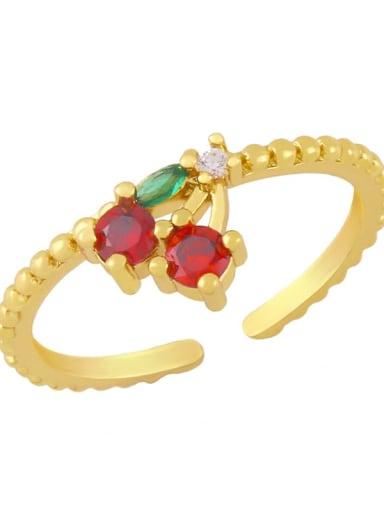 Cherry Brass Cubic Zirconia Friut Minimalist Band Ring