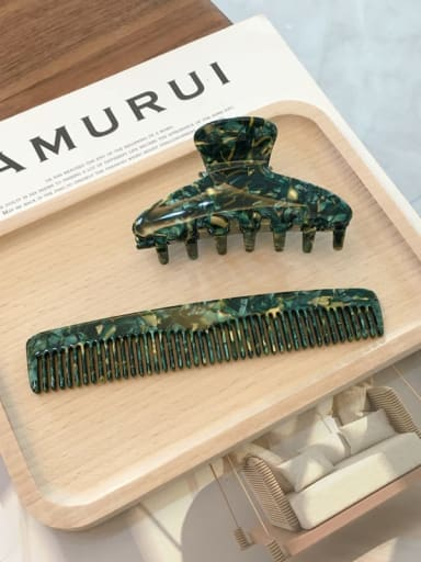 Green Set Cellulose Acetate Trend  Comb hairpin two-piece Set