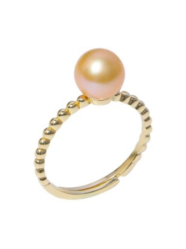 Brass Freshwater Pearl Irregular Minimalist Band Ring
