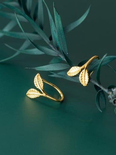 gold 925 Sterling Silver Leaf Minimalist Stud Earring
