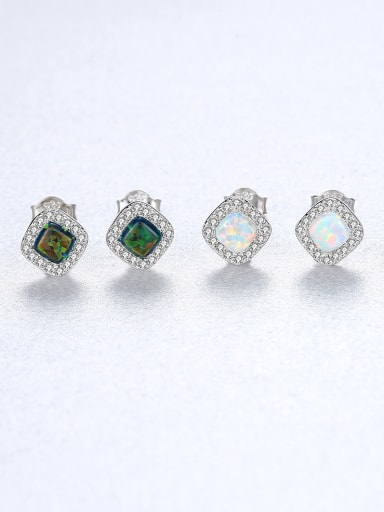 925 Sterling Silver Opal Square Minimalist Stud Earring