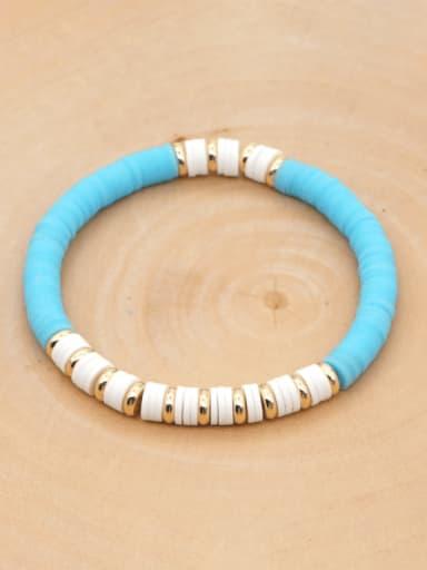 QT B200162C Stainless steel Multi Color Polymer Clay Geometric Bohemia Stretch Bracelet