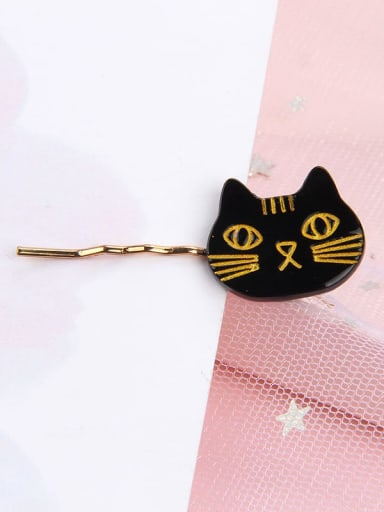 black Alloy Cellulose Acetate Cute Cat  Hair Pin