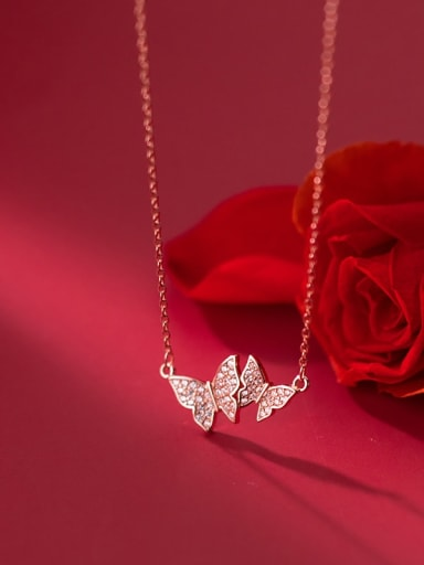 rose gold 925 Sterling Silver Cubic Zirconia Butterfly Minimalist Necklace