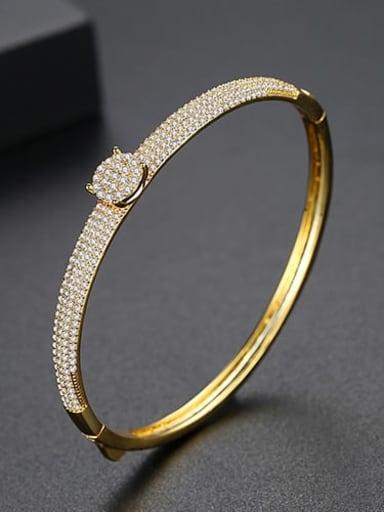 18k gold Brass Cubic Zirconia Round Luxury Band Bangle