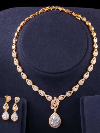 Copper Cubic Zirconia Luxury Water Drop Earring and Necklace Set