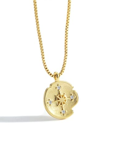 Gold compass Necklace Brass Rhinestone Geometric Minimalist Necklace