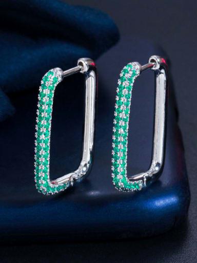 Platinum green zirconium Brass Cubic Zirconia Geometric Luxury Huggie Earring