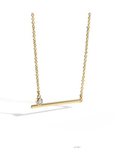 Brass Rhinestone Geometric Minimalist Necklace