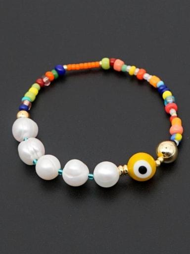 ZZ B200034D Freshwater Pearl Multi Color Miyuki beads Evil Eye Bohemia Stretch Bracelet