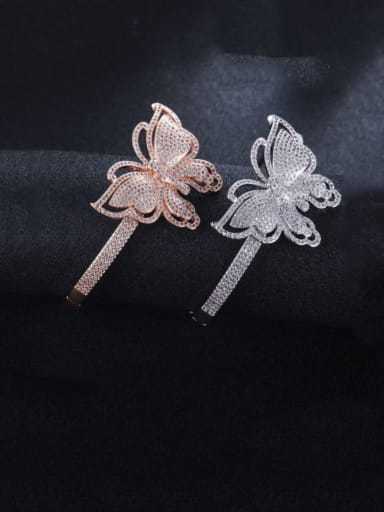 Brass Cubic Zirconia Butterfly Statement Band Bangle