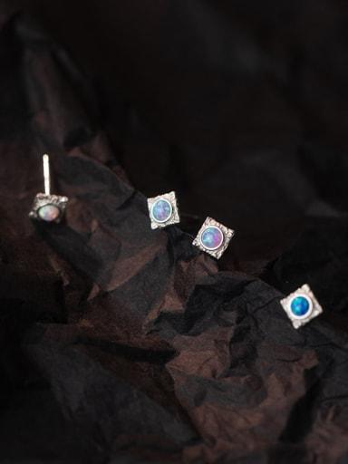 925 Sterling Silver Opal Geometric Minimalist Stud Earring