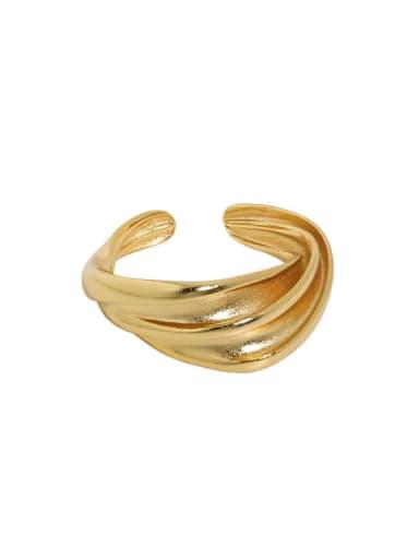 Dark gold [No. 13 adjustable] 925 Sterling Silver Irregular Vintage Band Ring