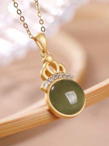 Blue jade 925 Sterling Silver Carnelian Geometric Vintage Necklace