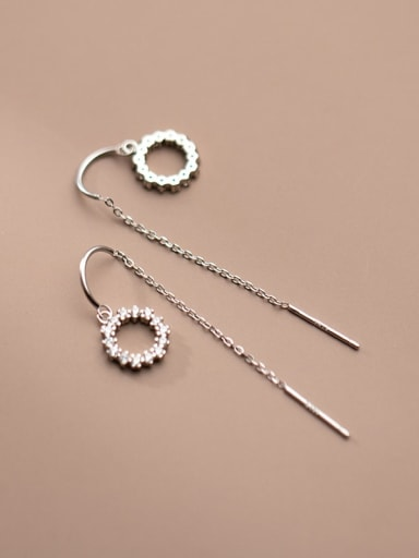 silver 925 Sterling Silver Cubic Zirconia Round Minimalist Threader Earring