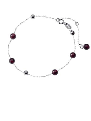 925 Sterling Silver Garnet Red Round Minimalist Link Bracelet