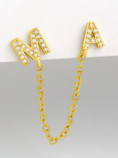 Brass Cubic Zirconia Simple chain butterfly letters  Bohemia Stud Earring (single)
