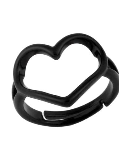 black Brass Enamel Hollow Heart Minimalist Stackable Ring