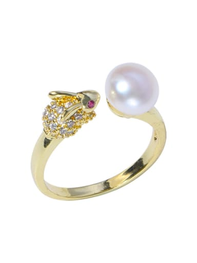 Brass Freshwater Pearl Cat Vintage Band Ring