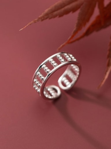 925 Sterling Silver Bead Geometric Minimalist Band Ring