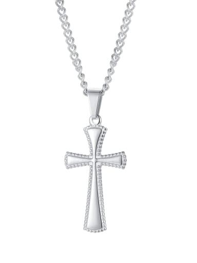2002 [steel pendant chain] Titanium Steel Minimalist Cross Pendant
