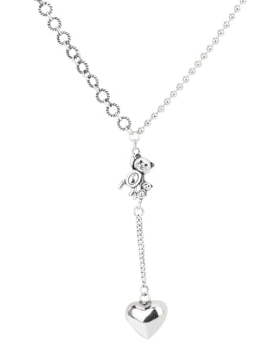 925 Sterling Silver Tassel Minimalist Smooth Heart  Lariat Necklace
