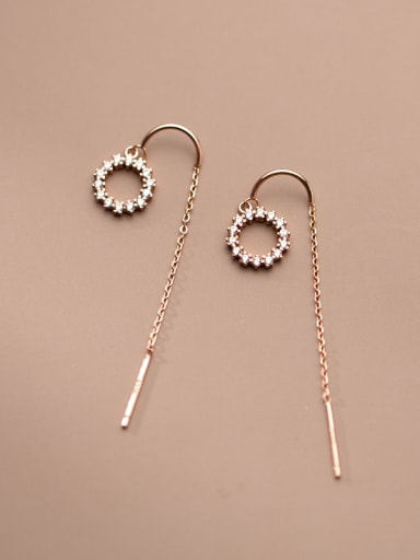 925 Sterling Silver Cubic Zirconia Round Minimalist Threader Earring