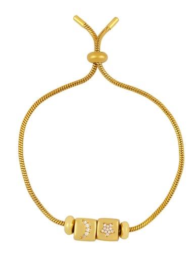 Brass Cubic Zirconia square Letter Minimalist Adjustable Bracelet