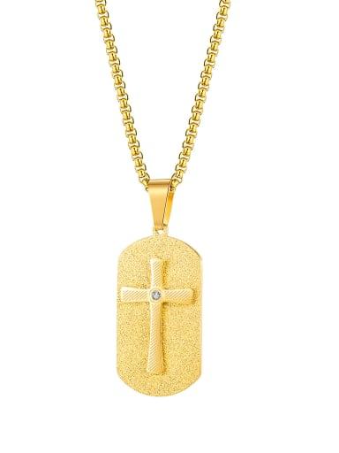 Titanium Steel Cross Hip Hop Geometric Pendant Necklace