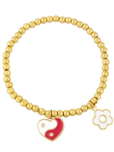 Red and white Brass Enamel Evil Eye Minimalist Beaded Bracelet