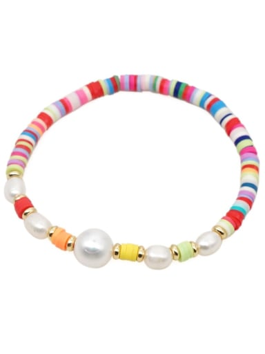 Freshwater Pearl Multi Color Polymer Clay Round Bohemia Stretch Bracelet