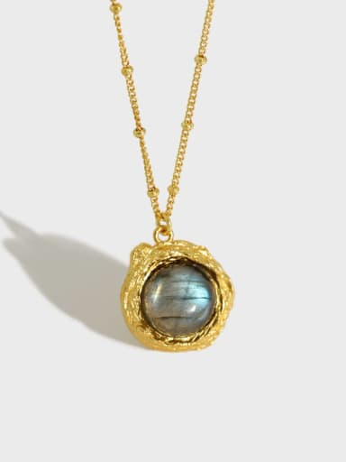 925 Sterling Silver Opal Round Vintage Necklace