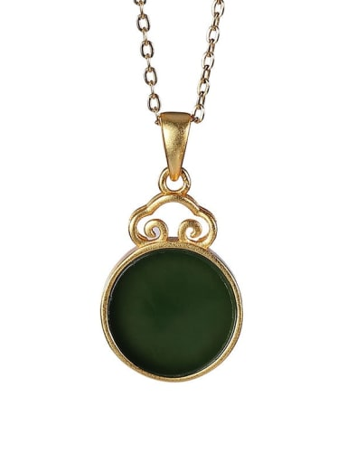 Geometric 925 Sterling Silver Jade Vintage Pendant