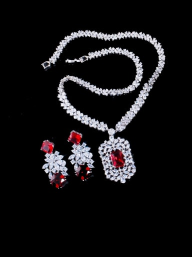 red Brass Cubic Zirconia Luxury Geometric  Earring and Necklace Set