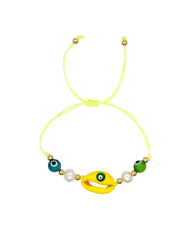 B B200052E Stainless steel Freshwater Pearl Multi Color Mouth Bohemia Woven Bracelet