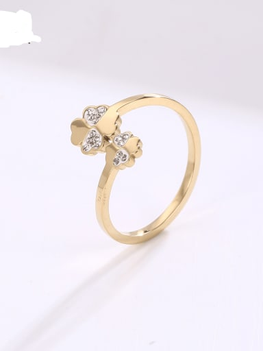 Titanium Steel Rhinestone Flower Minimalist Band Ring