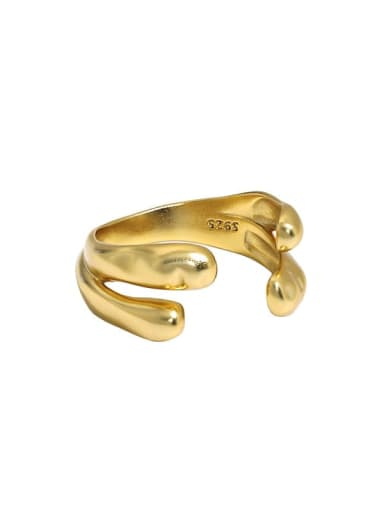 18K gold [12 Adjustable] 925 Sterling Silver Irregular Minimalist Band Ring