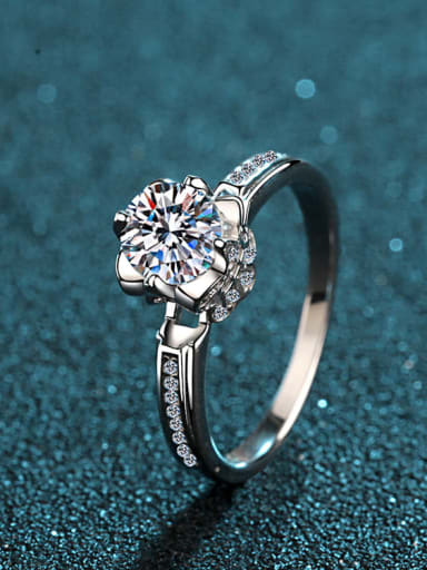 Sterling Silver Moissanite White  Dainty Engagement Rings