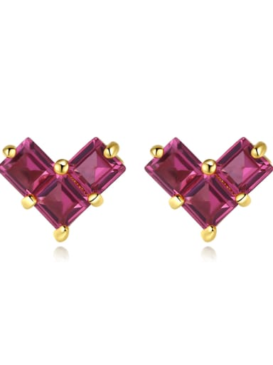 925 Sterling Silver Cubic Zirconia Heart Dainty Stud Earring