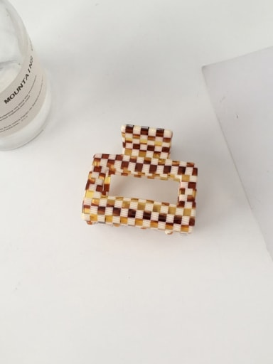 F118 Cellulose Acetate Minimalist Large and medium Checkered Coffee color hollow  Alloy Jaw Hair Claw