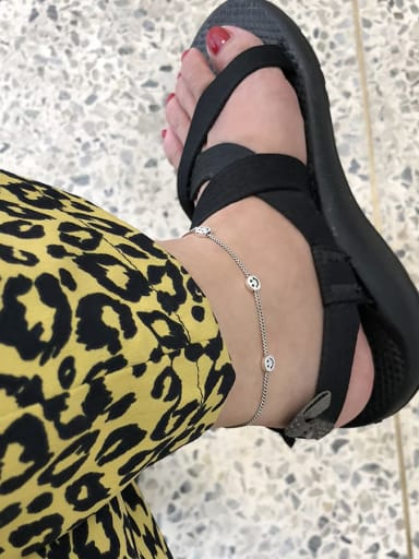 925 Sterling Silver Vintage  Smiley Chain Anklet