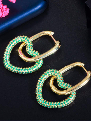 Golden green Brass Cubic Zirconia Heart Luxury Cluster Earring