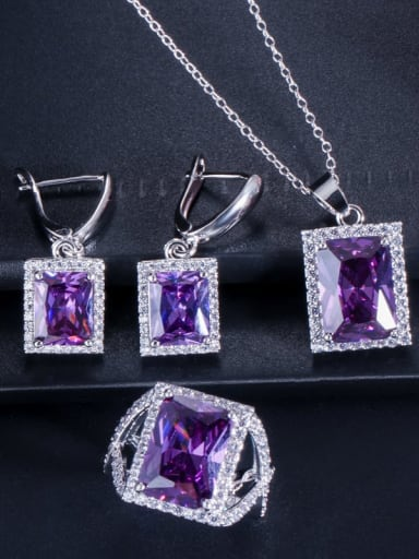 Purple ring size 6 Brass Cubic Zirconia Luxury Geometric  Earring Ring and Necklace Set