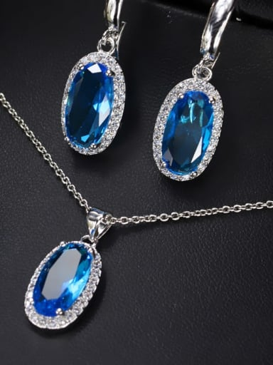 Navy US 6 Brass Cubic Zirconia  Luxury Oval Earring Ring and Necklace Set
